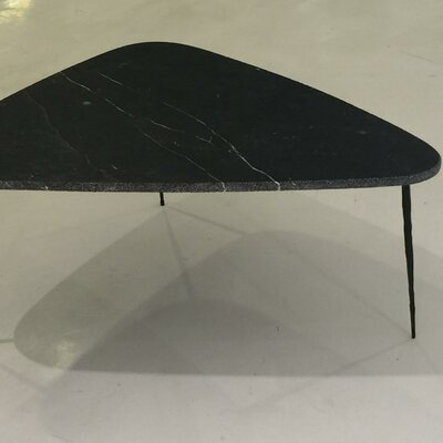 Athanas Small Coffee Table with Marble and Iron Legs Top Color: Black Marble