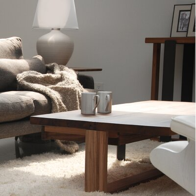 Alan Coffee Table with Solid and Metal Base