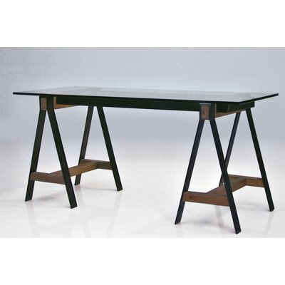 Menelaus A Frame Reclaimed Solid Elm Wood Writing Desk Tempered Glass Top Product Picture 2448