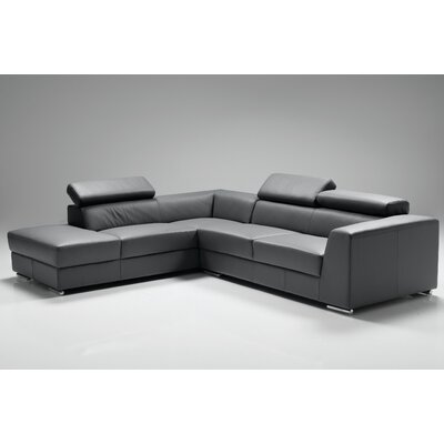 Cesca Leather Sectional Upholstery: Dark Gray