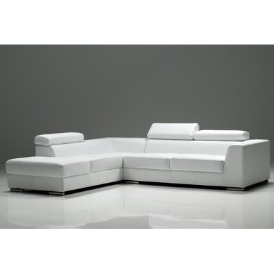 Cesca Leather Sectional Upholstery: Pure White
