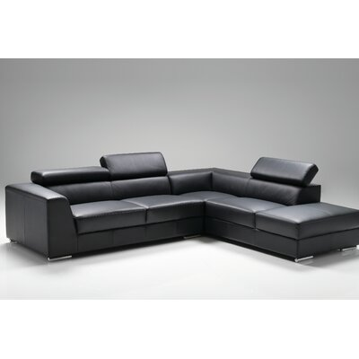 Cesca Right Side Facing Chaise Sectional Upholstery: Black