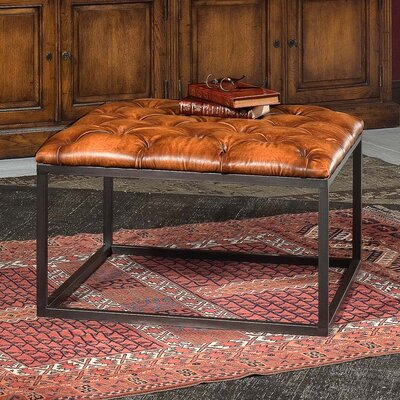 Cologne Square Leather Ottoman