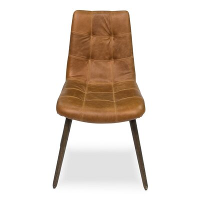 Harned Leather Side Chair Finish: Dark Beige