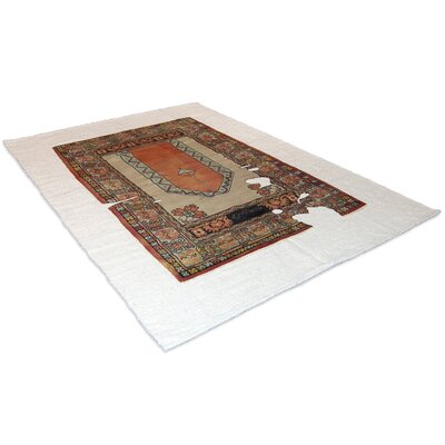 Hand-Woven Wool Orange/Cream Area Rug