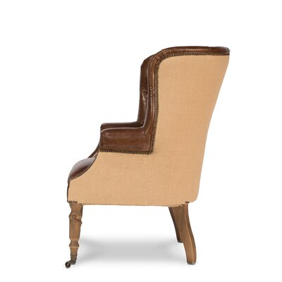 Welsh Leather and Jute Wingback Chair