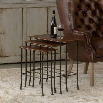 Kew Gardens Leather 3 Piece Nesting Tables