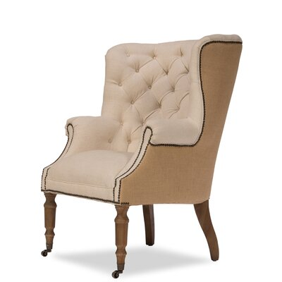 Welsh Linen and Jute Wingback Chair
