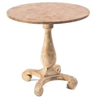 Antique Oak Wood and Stone Top Bistro Table Top Finish: Walnut