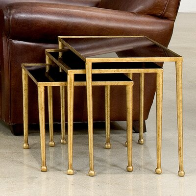 Trio of Gilt Metal 3 Piece Nesting Tables