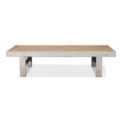 Large Wood Panel Coffee Table Color: Antique White