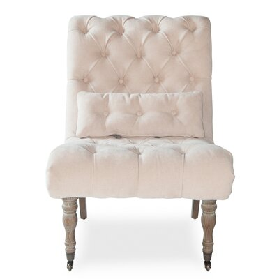 Boudoir Slipper Chair (Set of 2) Upholstery: White