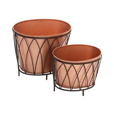 Exclusive 2-Piece Metal Pot Planter Set 22128