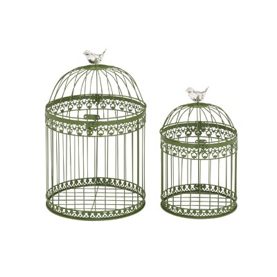 Woodland Imports 2 Piece Attractive and Lovely Acrylic Bird Cage Set - Color: Green at Sears.com