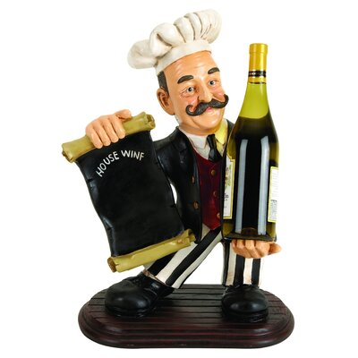 Chef with Menu 1 Bottle Tabletop Wine Rack