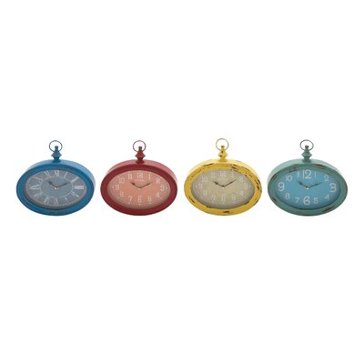 Woodland Imports The Oval Metal Wall Clock (Set of 4)