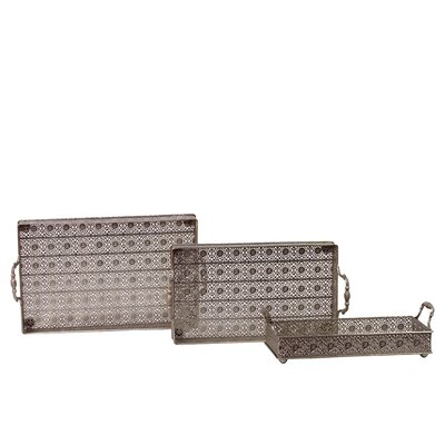 Woodland Imports 3 Piece Intricately Crafted Metal Tray Set at Sears.com