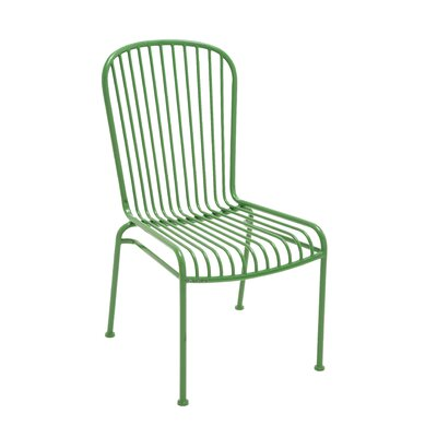 The Metal Side Chair Upholstery Color: Green