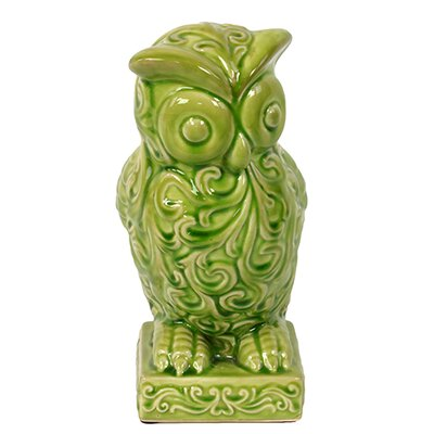 Ceramic Hooting Owl with Big Eyes and Embellished Figurine BRU-609744