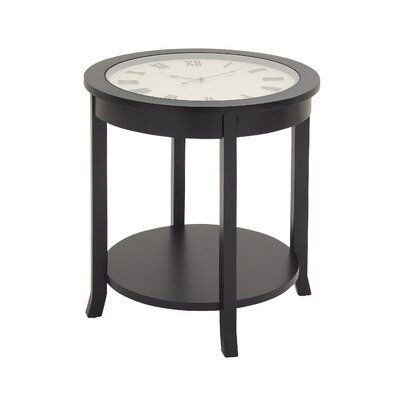 Ingenious Clock End Table Finish: Black