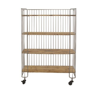 Modernly Designed Metal Wood Storage Shelf Kitchen Cart