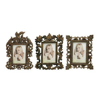 3 Piece Polystone Picture Frame Set Color: Gold