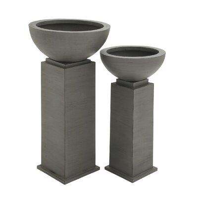 2 Piece Novelty Pedestal Planter Set