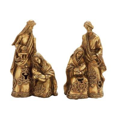 2 Piece Holy Family Figurine Set Color: Golden 53519