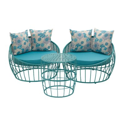 3 Piece Lounge Seating Group with Cushion Finish: Blue
