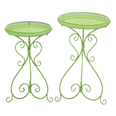 2 Piece Novelty Plant Stand Set Finish: Green