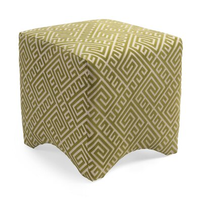 Marisa Graphic Cube Ottoman Upholstery: Green