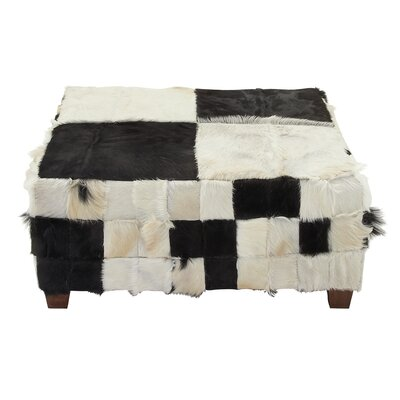 Hide Square Ottoman Fabric: Black / White