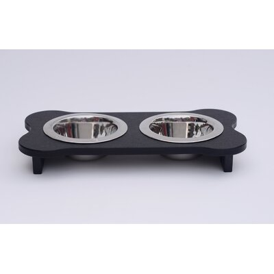 Double Bowl Elevated Feeder Color: Black