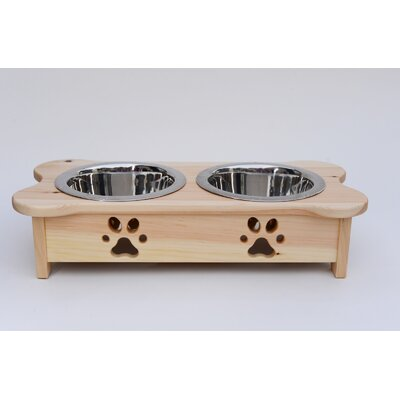 Carved Paws Double Bowl Elevated Feeder Color: Natural