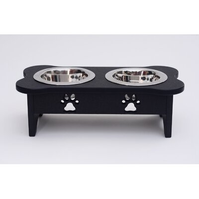 Carved Paws Double Bowl Elevated Feeder Color: Black