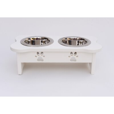Carved Paws Double Bowl Elevated Feeder Color: White