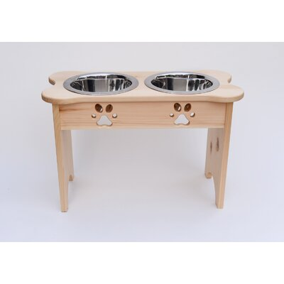 Carved Paws Tall Double Bowl Elevated Feeder Color: Natural