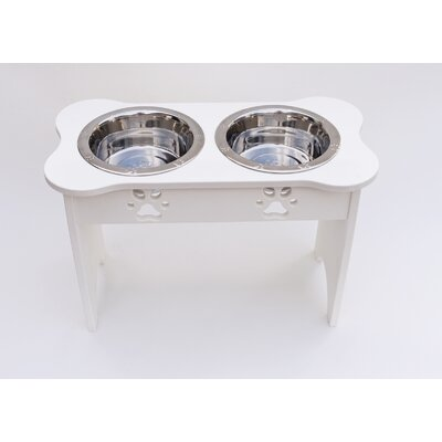 Carved Paws Tall Double Bowl Elevated Feeder Color: White