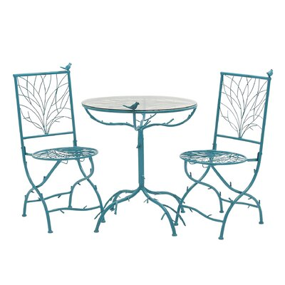 3 Piece Simply Too Cool Pub Table Set Finish: Blue