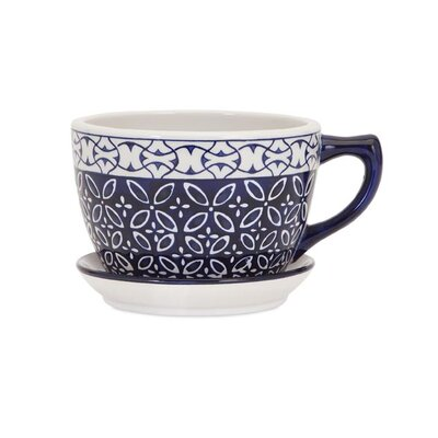 Meredith Mug Ceramic Pot Planter with Saucer IMX-13832