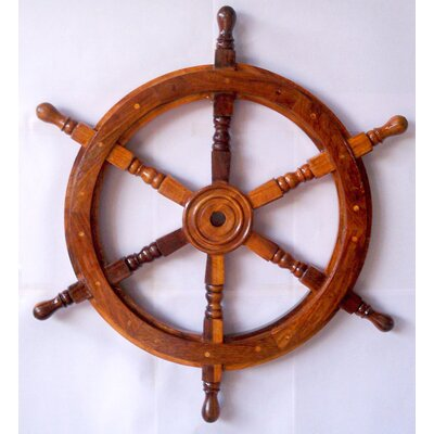 Bosworth Nautical Ship Wheel Sculpture with Wooden Centre Size: 24