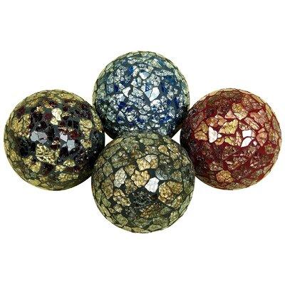 Set of Four - 4 Inch Decorative Coloured Mosaic Balls 69A91FA301F240AE8BF605C7471852FD