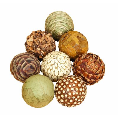 Autumnal 8 Piece Natural Ball Sculpture Set Size: 4