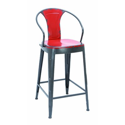 Ella 43 inch Bar Stool Upholstery: Fire Engine Red