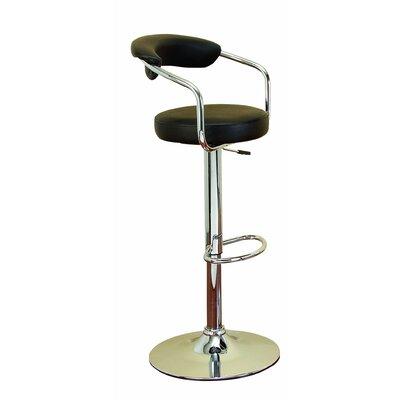 Adjustable Height Swivel Bar Stool Upholstery: Black