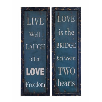 Woodland Imports Life and Love 2 Piece Framed Textual Art Plaque Set at Sears.com