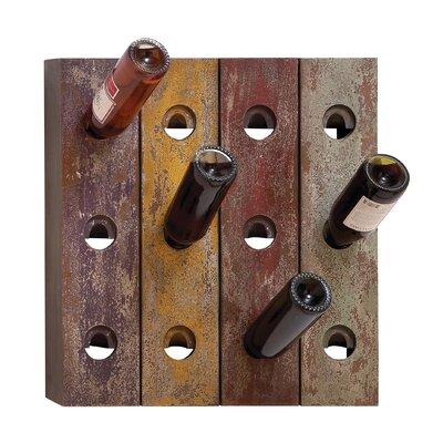 Rustic 12 Bottle Wall Mounted Wine Rack