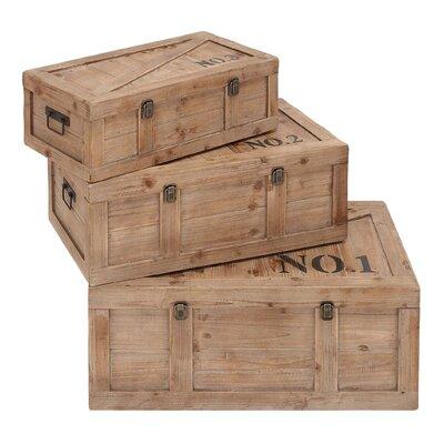 Woodland Leather Beautifully Designed Wood Trunk (Set of 3)
