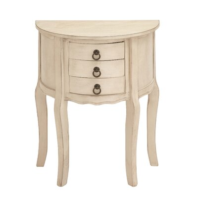 3 Drawer Nightstand Color: Off White