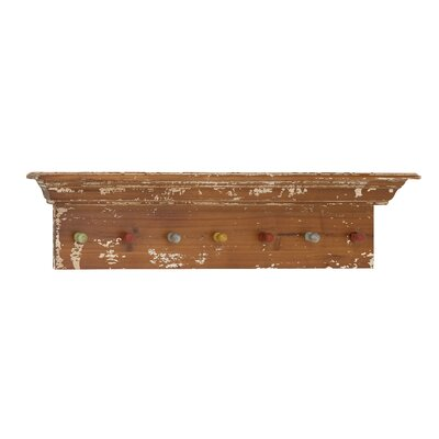 Woodland Imports Classy Wooden Shelf Wall Panel with Colorful Hooks